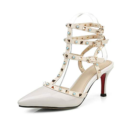 White Black ZHZNVX Leather Heel Women's White Shoes Spring Stiletto Nappa Heels Comfort Red wwf74Rq