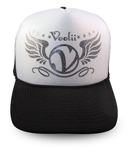 Voolii Men's V-Wings Glitter Trucker Mesh Hat One Size Black (Mesh Wings Glitter)