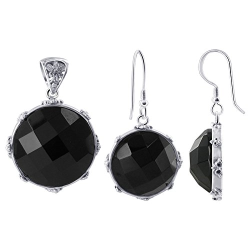 Gem Avenue 925 Sterling Silver Multi Faceted Black Onyx Earrings Pendant Set