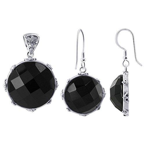 Gem Avenue 925 Sterling Silver Multi Faceted Black Onyx Earrings