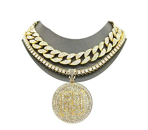 Pyramid Jeweler Mens Iced Out Gold Miami Cuban Choker & 69 Hip Hop Rappers Pendant Necklace Set (Round 69 Pendant Double Choker 2 Necklace Set)