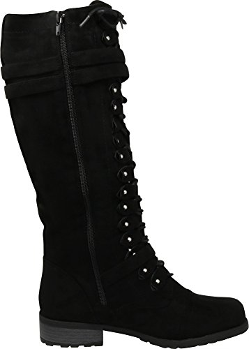 3da2553d373 Cambridge Select Women s Lace-Up Strappy Knee High Combat Stacked Heel Boot