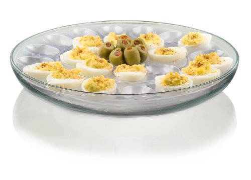 Serve Healthy Avocado Deviled Eggs at your party in a Anchor Hocking Presence 3-Piece Multi-Use serving Tray-Deep Serving Tray with Egg Insert and Veggie Insert