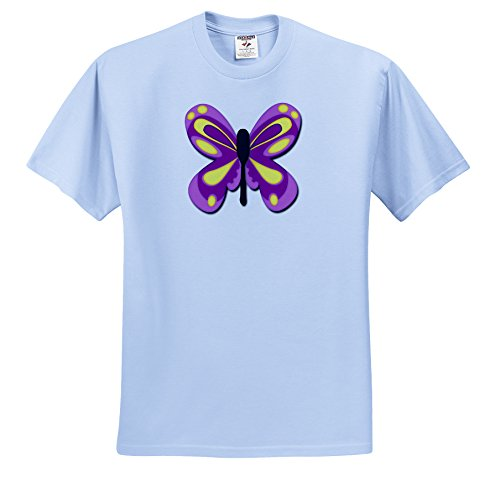 Florene Childrens Art - Purple n Yellow Kids Butterfly - T-Shirts - Youth Light-Blue-T-Shirt Med(10-12) (ts_45059_61)