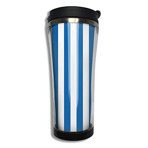 EQQ Blue Stripes Lines Flip Top Lid Double Wall Stainless Steel Mug Hot Cold Tumbler With Liquid Tight Travel Coffee Mug Vacuum Insulated Tumbler Drink - Liquid Sunglasses Metal