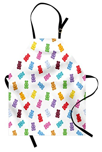 Lunarable Sweet Apron, Colorful Gummy Bears Kids Candy Yummy