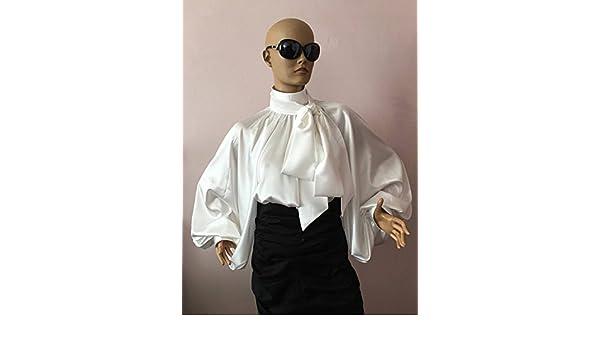 81c28737b94860 Amazon.com: Formal Womens silk bow blouse/ White cocktail satin blouse/Victorian  collar Blouse, Shirt: Handmade