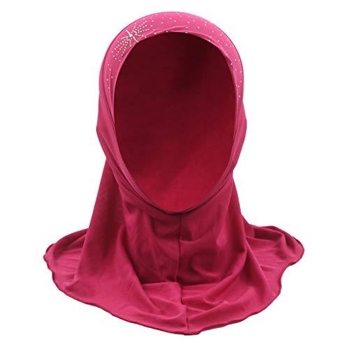 Sunshinehomely Kids Muslim Diamond Turban Hats for Kids Girls Gift Kids Headcover Chemo Cap Hair Head Scarf Headwrap Shower Cap (Hot Pink)