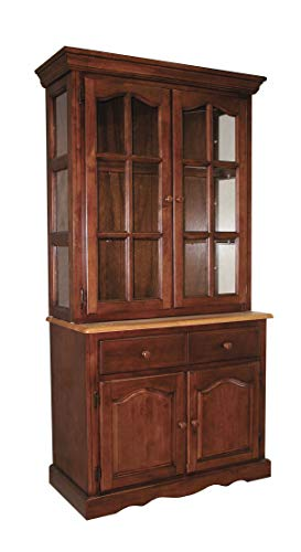 Sunset Trading DLU-19-BH-NLO Oak Selections Buffet and Hutch, Medium Walnut with Light Finish top