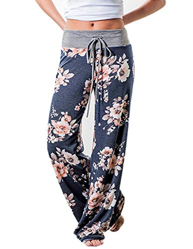 (Buauty Women's Floral Printed High Waist Drawstring Wide Leg Casual Palazzo Lounge Pants)