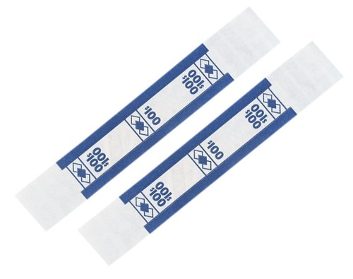 PM Company SecurIT $100 Kraft Currrency Bands, 1.25 x 7.62 Inches, White/Blue, 25,000/Carton (55027)