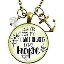"24"" Anchor Faith Necklace But As For Me I Will Always Have Hope Bible Quote Christian Jewelry For Women"