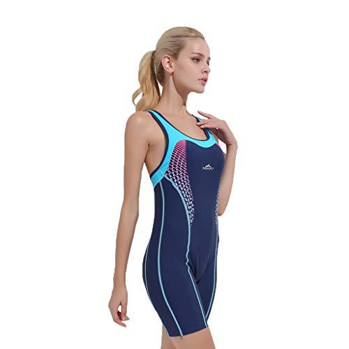 YEZIJIN Women Swimsuit Sexy One Piece Bodysuit Swimwear Professional Sport Bathing Suit Wetsuit top Long/Short Sleeve Dark Blue by Yezijin_Swimsuit (Image #1)