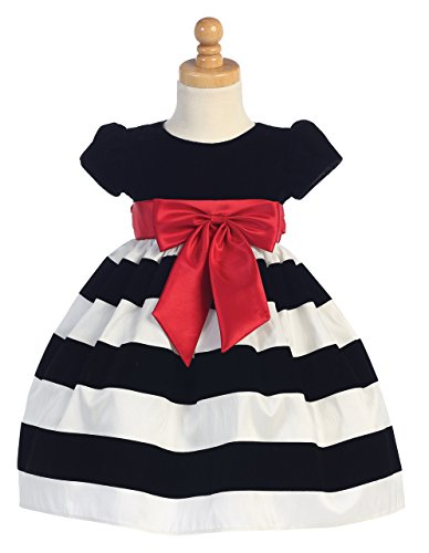 Girls Black White Christmas Dress - 3