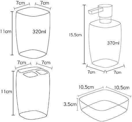 FXin バスルームアクセサリー、シンプルな北欧セラミックバスルームウォッシュキットうがい薬カップブラシ手消毒剤ボトルセット4、4色 シャワー室 (Color : Black)