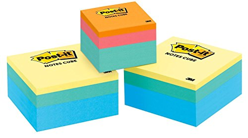 Post-it Notes Cube Value Pack, America's #1 Favorite Sticky Note, 3 in x 3 in, 400 Sheets/Cube, 2 Emerald Wave Plus 1 Free 2 in x 2 in Aqua Wave -
