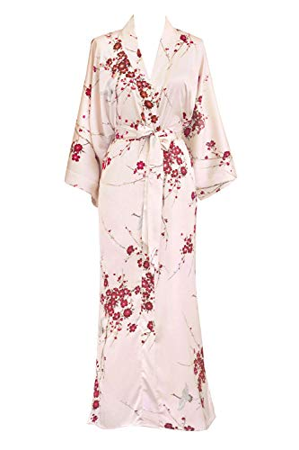 KIM+ONO Women's Kimono Robe Long - Watercolor Floral, Cherry Blossom & Crane- Rose Quartz