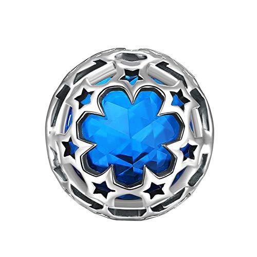 Newshe - Colgante de Plata de Ley 925 con diseño de Estrellas para Pulsera Europea, Color Azul Zafiro y Piedra de Nacimiento...