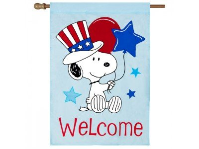 PEANUTS SNOOPY PATRIOTIC WELCOME FLAG~APPLIQUE~SIZE 28x40~BALLOONS
