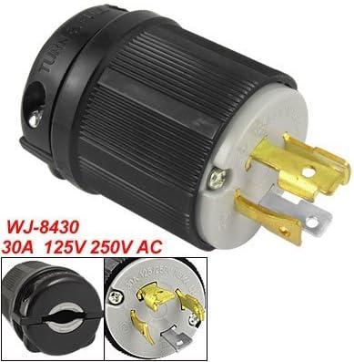 OCSParts L14-30P 125//250V 3 Pole 4W Grounding Plug W//External Cord Grip NEMA