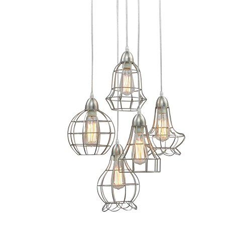 Unitary Brand Rustic Barn Silvery Metal Chandelier Max 200w with 5 Lights Nickel Finish