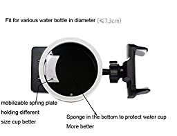 J.Market Two In One Car Mount Holder and Water Bottle Holder Air Vent 360 Phone Holder Compatible with Smartphone in Width 1.78-3.5\
