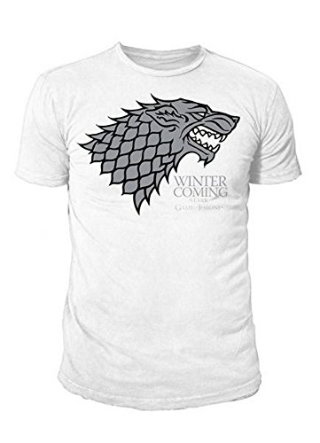 Game of Thrones - TV Serien Herren T-Shirt - Stark Logo (Weiss) (S-XL)