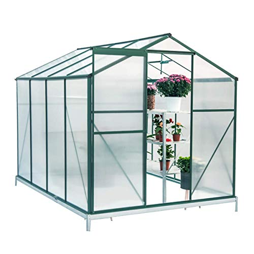 Mellcom 8′(L) x 6′(W) x 6.6′(H) Polycarbonate Portable Walk-in Garden Greenhouse Large Hot House with Adjustable Roof Vent and Rain Gutters,UV Protection Planting House