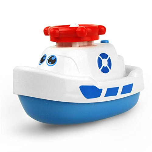 Speed Boats Fountain (Cocal Electric Boat Model Jet Boat Water Spray Navigation Ship Kid Bathing Playing Toy (White))