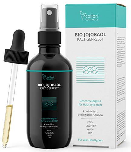 Bio Jojobaöl 100% rein - für gesunde Haare, weiche Haut und starke Nägel - 100ml in Lichtschutz Glasflasche - nativ und kaltgepresst von colibri cosmetics