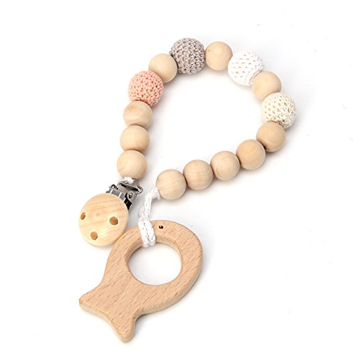 Wivily Baby Wooden Pacifier Clip Holder Nature Wooden Teething Chewable Infant Toy (Wooden)