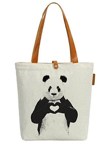 So'each Women's Animal Panda Love Graphic Canvas Tote Handbag Shopper Bag