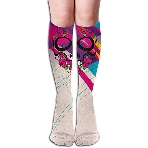Flower Pink Sugar Skull Women's Fancy Design Calf Compression Knee High Socks (Knee Socks Skull Pink)