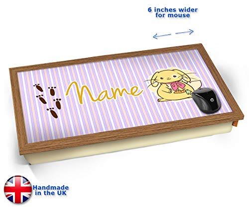 (KICO Bunny Personalised Childrens Name Cushioned Bean Bag Laptop Lap Tray Desk - Built-in EMF Shield (Electro Magnetic Field) - Wood Effect Frame)