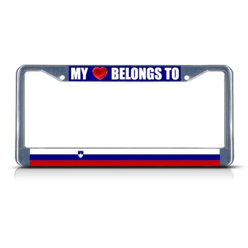 SLOVENIA MY HEART BELONGS TO Metal License Plate Frame Tag Border Two Holes PREMIUM Men Women Car garadge decor ()