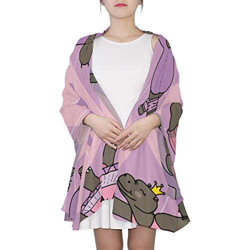 Cute Cartoon Hippopotamus Unique Fashion Scarf For Women Lightweight Fashion Fall Winter Print Scarves Shawl Wraps Gifts For Early Spring