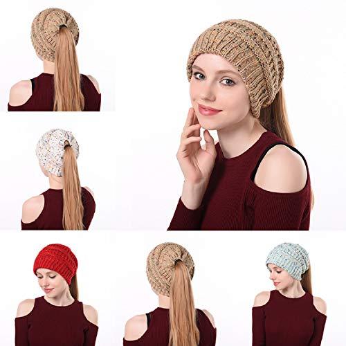 Szsmart Ponytail Beanie Hat Soft Stretch Cable Knit Messy High Bun Caps Winter Fashion Woolen Warm Cap Women