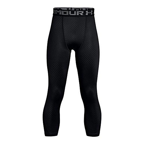 Under Armour Boys' HeatGear Armour ¾ Printed Leggings,Black (001)/Graphite, Youth X-Large