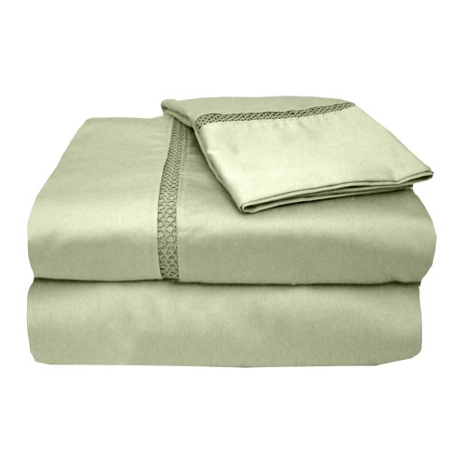 Veratex The Princeton Collection 500 Thread Count 100  Egyptian Cotton Sateen Bed Sheet Set With Elegant Stitch Hem Design  King Size  Sage