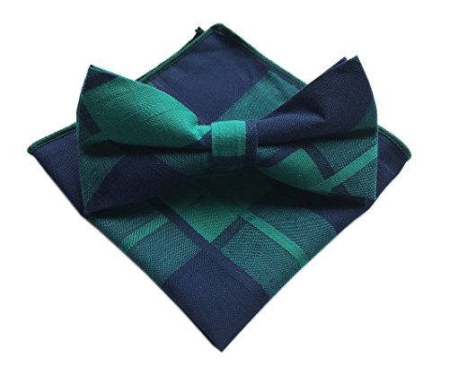 (Elfeves Men's Navy Blue Green Going out Bow Tie Set Necktie Winter Modern Wear)