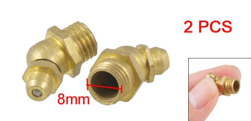 uxcell 8mm Dia Male Thread 45 Degree Brass Hydraulic Grease Nipple Fitting 2 Pcs