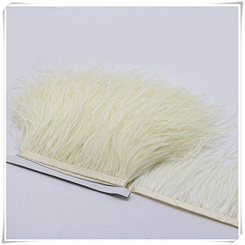 Hanlanbo 2 Yards Ostrich Feather Trim Craft Fringe with Satin Ribbon Tape for Dress Sewing Crafts Costumes Decoration (Beige) ()
