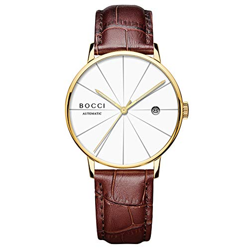 BOCCI Men's Automatic Watch Minimalist Wrist Watch with Date Window Analog Waterproof Watch Leather Watch for Men (Brown White)