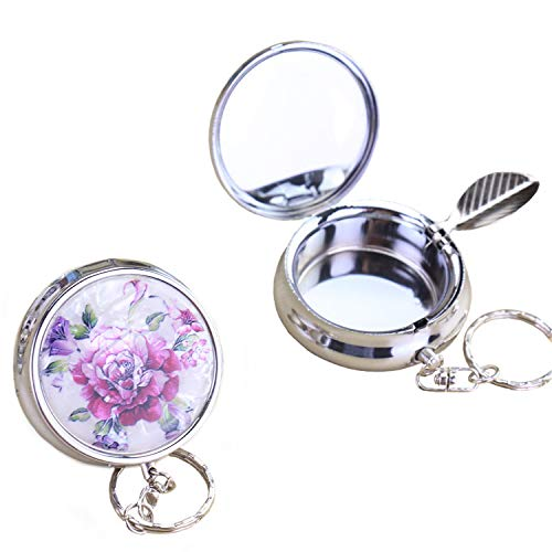 (CRIVERS 2pc Portable Pocket Ashtray/Vehicle Cigarette Ashtray, Mini Stainless Steel Ashtray with Key Chain and Cigarette Snuffer, Modern Ash Holder for Outdoor Use (Colored Pattern))
