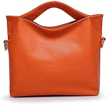 ハンドバッグ - ヨーロッパやアメリカのファッションワンショルダー斜めのトートバッグ、大容量のハンドバッグ、革、37 * 10 * 28センチメートル よくできた (Color : Orange)