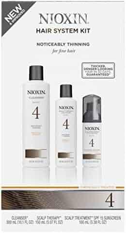 Nioxin System 4 Thinning System Kit Chemical Treated Set (Clenser 300mL (10.1 FL OZ), Scalp Therapy 150 mL (5.07 FL OZ), Scalp Treatment 100 mL (3.38 FL OZ))