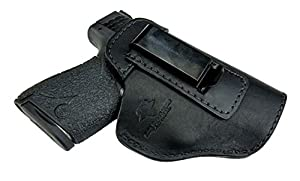 Relentless Tactical The Defender Leather IWB Holster For S&W M&P Shield - GLOCK 17 19 22 23 32 33 / Springfield XD & XDS / Plus All Similar Sized Handguns