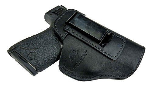 Relentless Tactical The Defender Leather IWB Holster - Made in USA - For S&W M&P Shield - GLOCK 17 19 22 23 32 33/Springfield XD & XDS/Plus All Similar Sized Handguns - Black - Right Handed