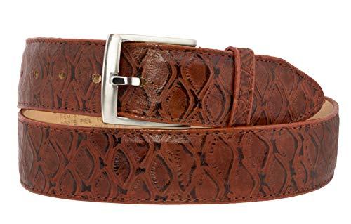 - El Presidente - Mens Chedron Ant Eater Print Leather Cowboy Belt Silver Buckle 52