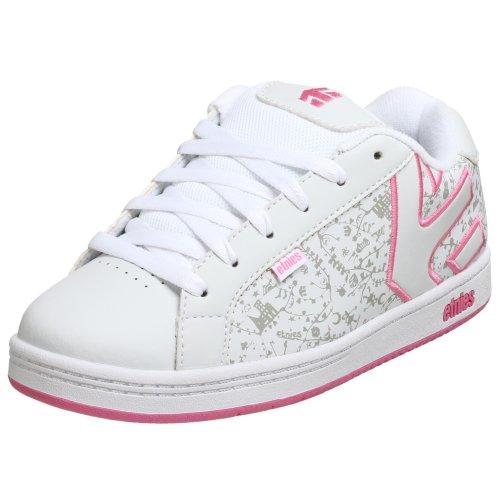 etnies Fader Skate Shoe (Toddler/Little Kid/Big Kid),White/White/Pink,5 M US Big Kid